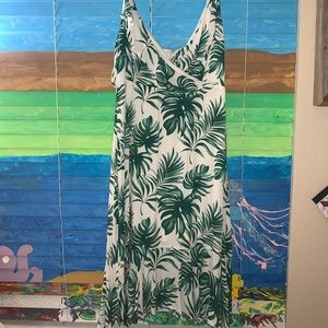 Beautiful tropical maxi palm leaves dress large